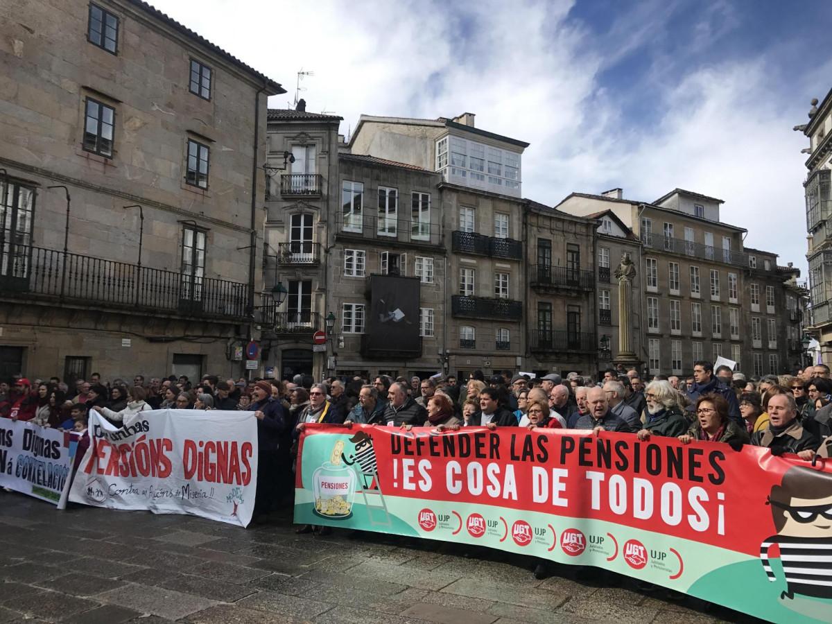 Pensionistas protestan en Santiago de Compostela