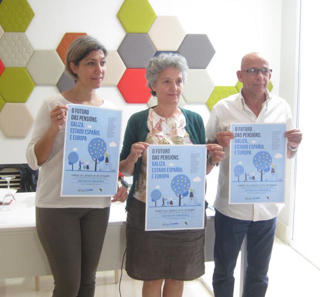 Presentación de unas jornadas sobre pensiones con Lídia Senra