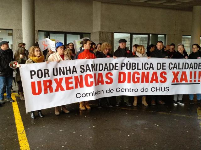 Protesta de trabajadores de Urgencias del CHUS.