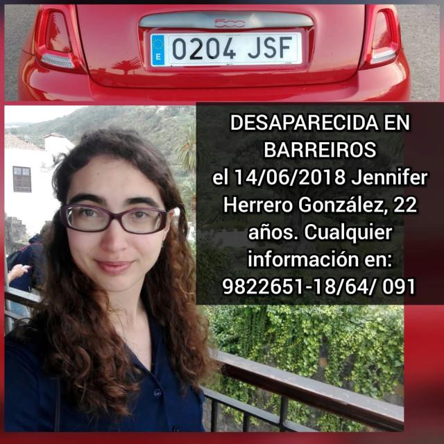 Cartel de una joven desaorecida en Barreiros difundido por la familia en redes.