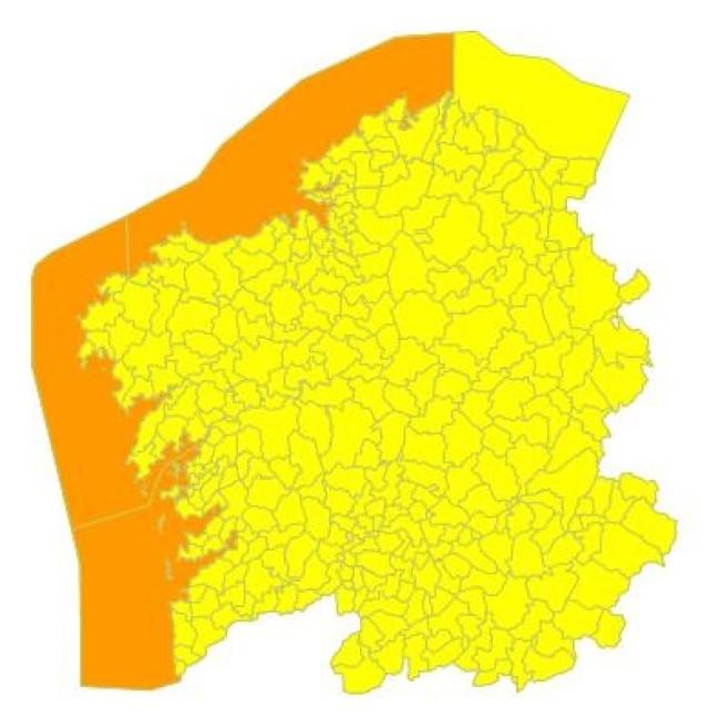 Alerta naranja por temporal en el litoral gallego