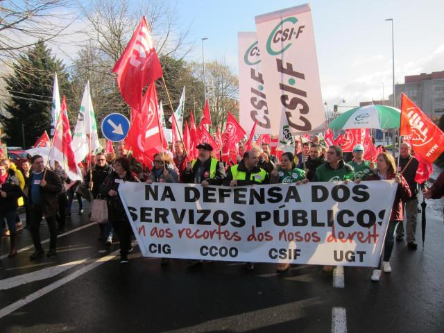 Manifestación personal laboral de la Xunta en Santiago