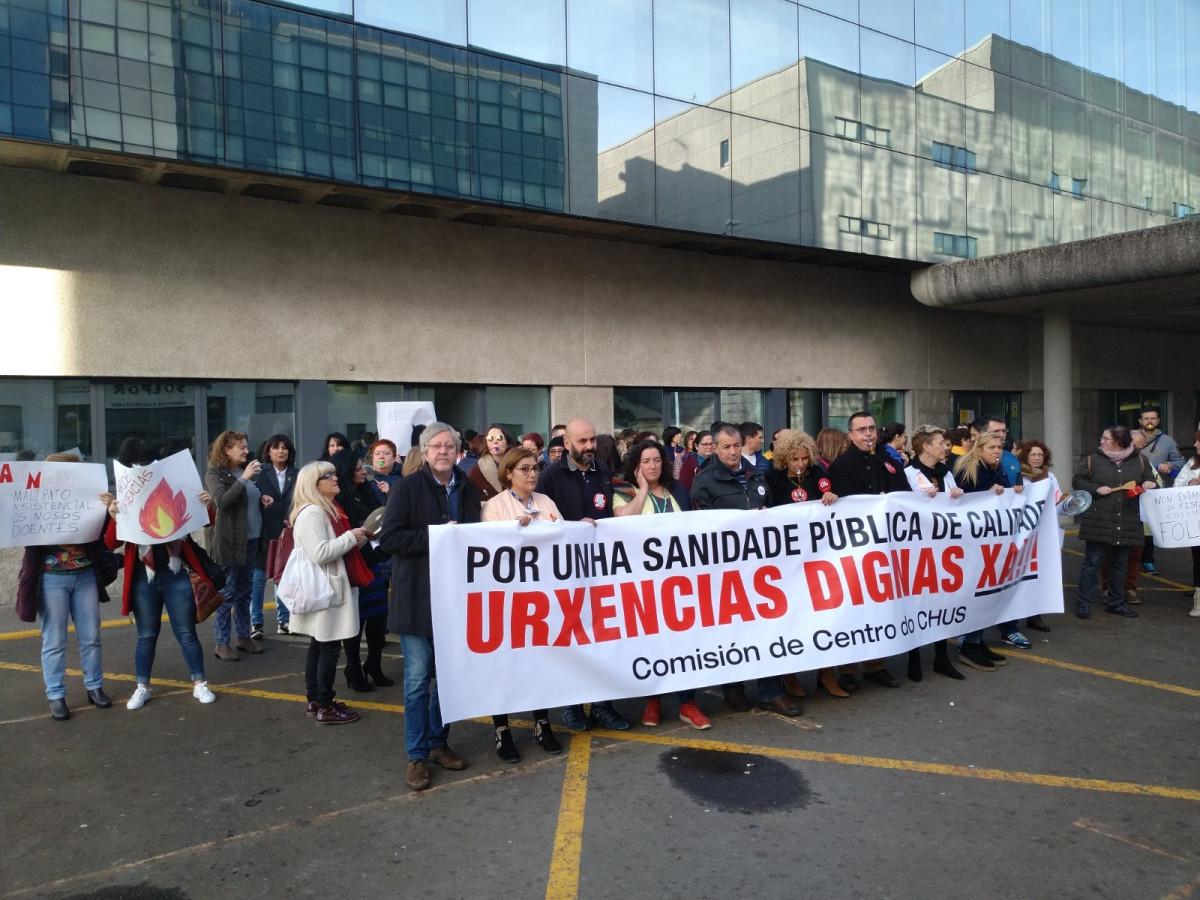 Protesta de personal de Urgencias del CHUS.
