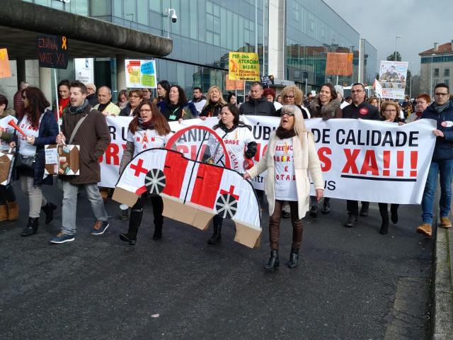 Protesta de trabajadores de Urgencias del Hospital Clínico de Santiago.