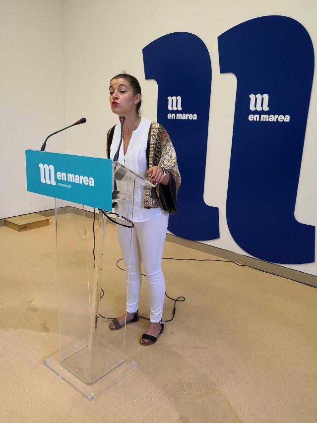 La diputada de En Marea Eva Solla ofrece una rueda de prensa