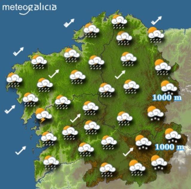 Predicciones meteorológicas para este miércoles en Galicia: Cielo parcialmente cubierto con chubascos
