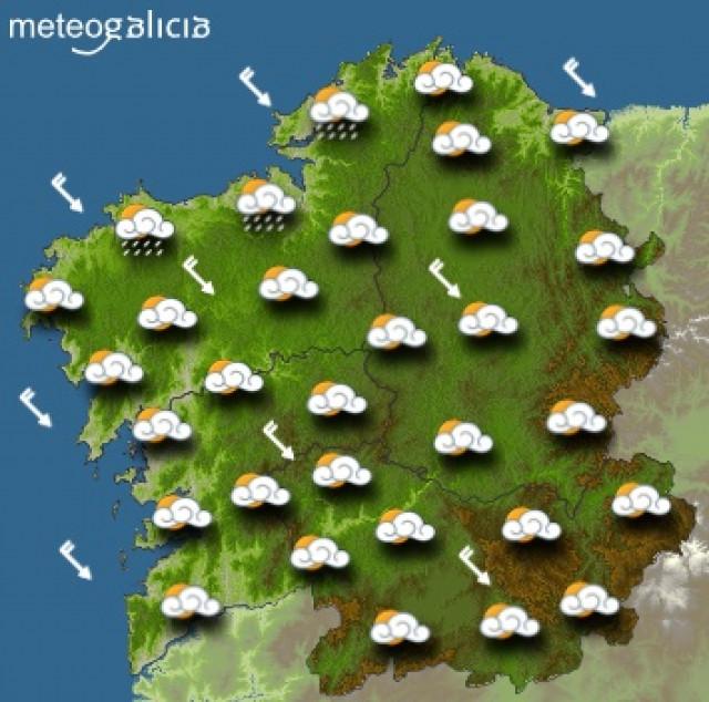 Predicciones meteorológicas para este jueves en Galicia: Descenso de temperaturas y chubascos más probables por la tarde