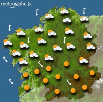 Predicciones meteorológicas para este lunes en Galicia: Cielo nublado y lluvias débiles en el norte