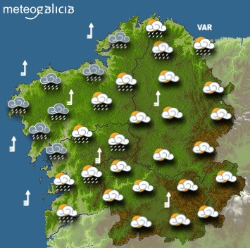 Predicciones meteorológicas para este jueves en Galicia: Aumento progresivo de nubes con chuvascos desde el oeste