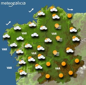 Predicciones meteorológicas para este viernes en Galicia: Cielo parcialmente cubierto con lluvias a partir del mediodía