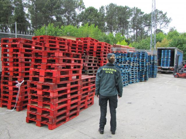 Recuperado en una empresa de Ponteareas (Pontevedra) medio millar de palés sustraídos en un polígono en Mos.