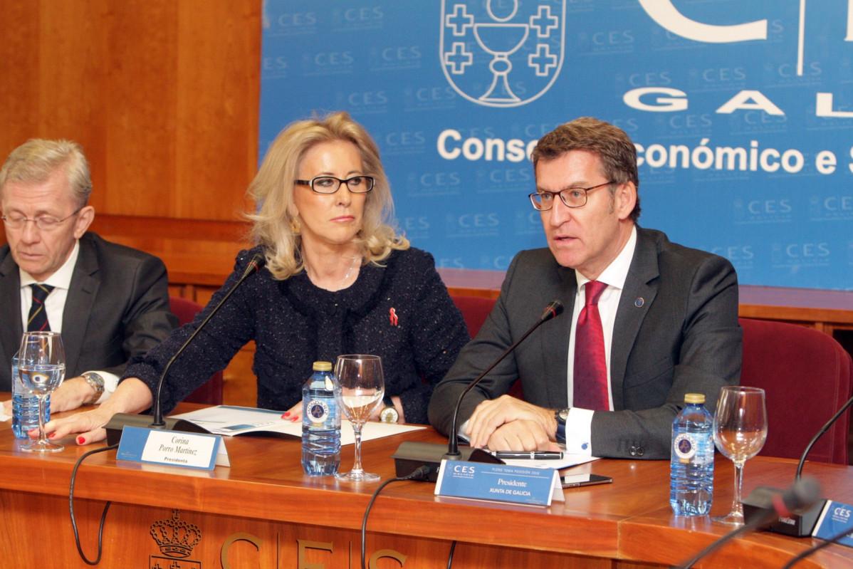 Alberto Núñez Feijóo, presidente de la Xunta de Galicia y Corina Porro, presidenta del Consejo Económico y Social de Galicia.