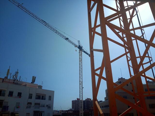 Obra de construcción de una vivienda.