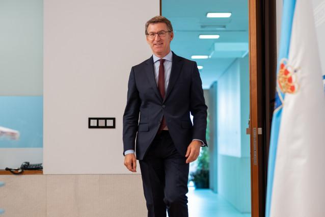El presidente del Gobierno gallego, Alberto Núñez Feijóo, en la rueda de prensa del Consello de la Xunta