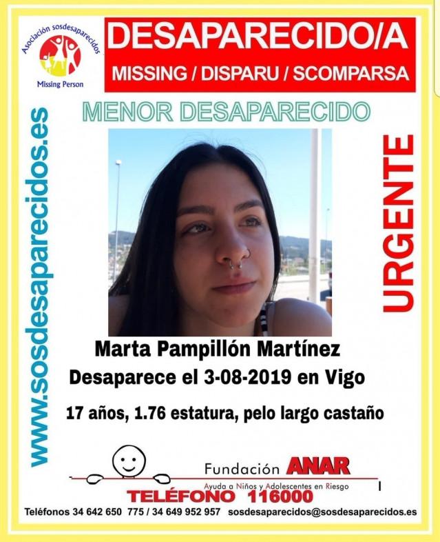Alerta por la desaparición de la menor Marta P.M., cuando iba a un concierto en Vigo.
