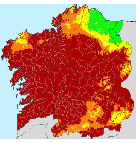 Mapa de riesgo extremo de incendio en Galicia del 5 de septiembre de 2019