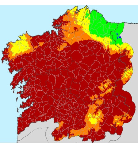 Mapa con el Índice de riesgo diario de incendio forestal actualizado el sábado, 7 de septiembre de 2019 a las 08:09