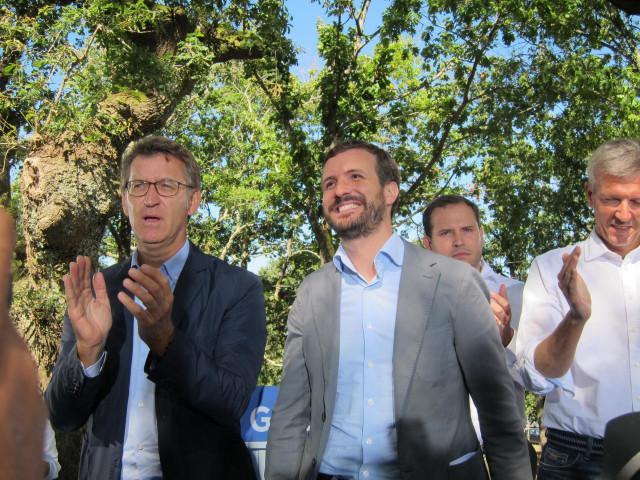 Alberto Núñez Feijóo y Pablo Casado en el acto de inicio del curso político en Cerdedo Cotobade.