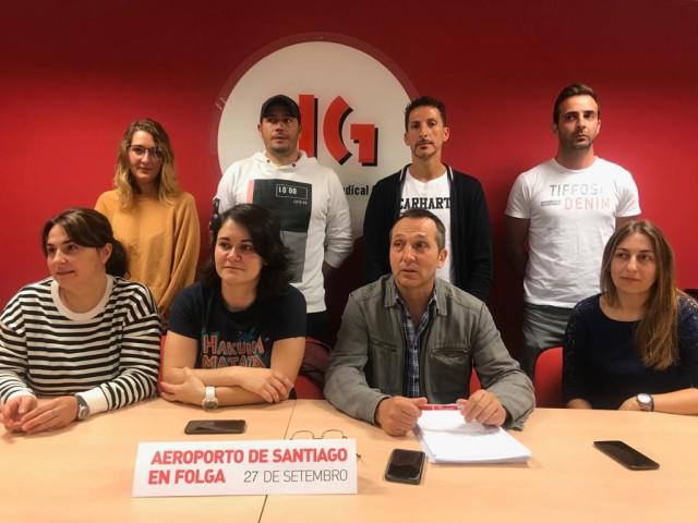 Comité de huelga de los trabajadores del Aeropuerto de Santiago.