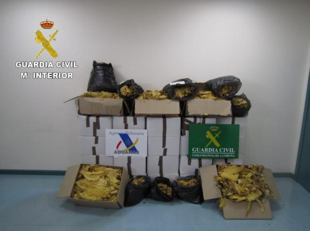 Hoja de tabaco intervenida en A Coruña en una operación de la Guardia Civil