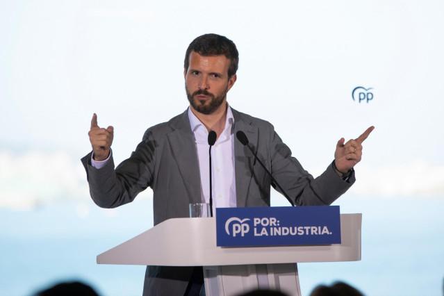 El presidente del PP, Pablo Casado, interviene en un acto del PPdeG en Oleiros (A Coruña/Galicia/España) a 6 de octubre de 2019.