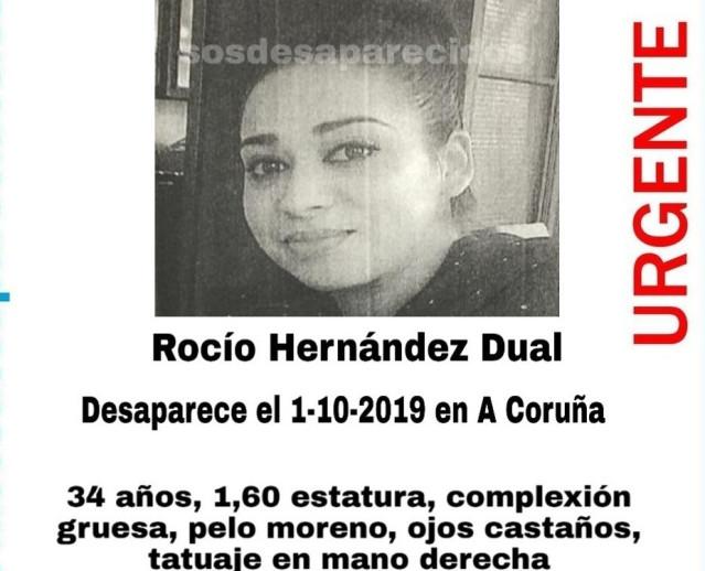 Rocío Hernández Dual, desaparecida en A Coruña el pasado 1 de octubre