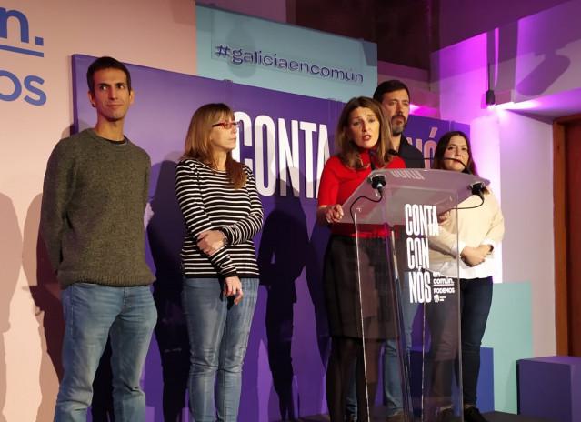 Yolanda Díaz y el resto de candidatos de En Común Unidas Podemos valoran los resultados de las elecciones generales del 10 de noviembre