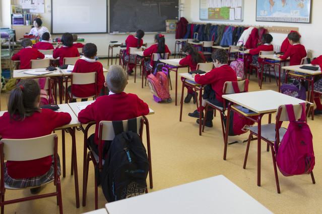 Escolares en una clase de un colegio madrileño.