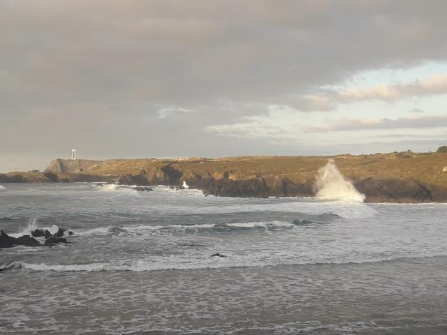 Olas en la playa de Meirás, Valdoviño (A Coruña) temporal, oleaje