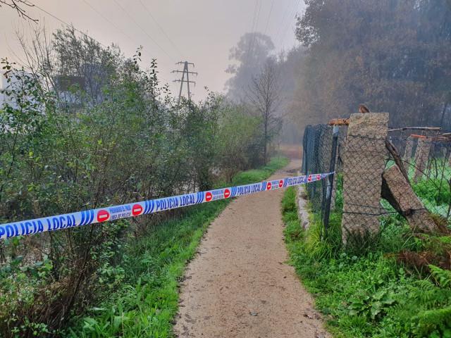 Zona en la que ha sido hallado el cuerpo de un hombre ahogado en el Río Louro en O Porriño (Pontevedra).