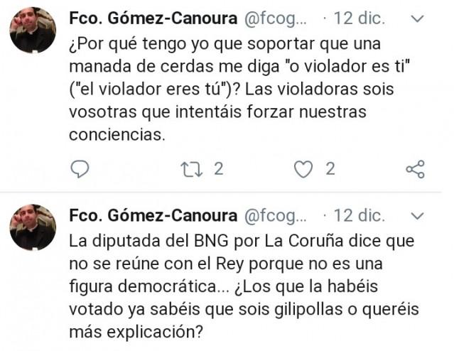 Tuits del párroco de Zas, Francisco Gómez-Canoura, en los que llama