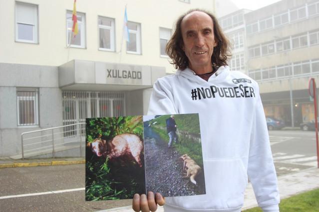El presidente de la protectora 'El Refugio', Nacho Paunero, ante el juzgado de Chantada (Lugo)