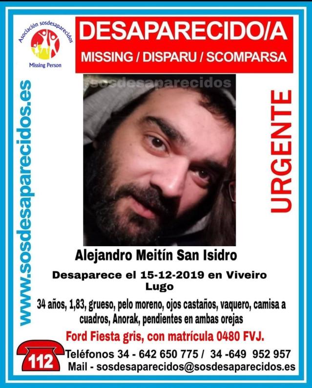 Hombre de 34 años desaparecido en Viveiro (Lugo).