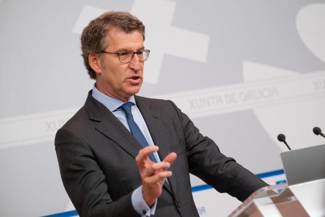 El titular de la Xunta en la rueda de pensa posterior al Consello del 9 de enero de 2020.