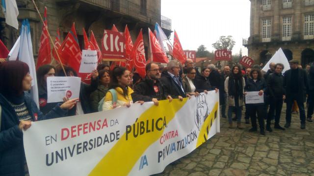 Protesta de la Plataforma en Defensa da Universidade Pública en Santiago