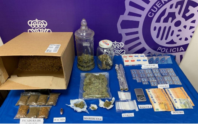 Efectos intervenidos a tres detenidos en Lugo por tráfico de drogas.