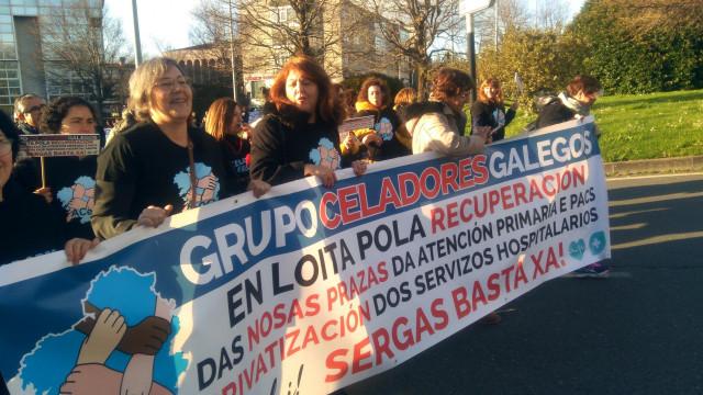 Manifestación de la Asociación de Celadores Galegos en Santiago de Compostela
